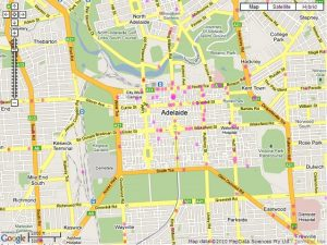 picture of tourist guide map of Adelaide CBD