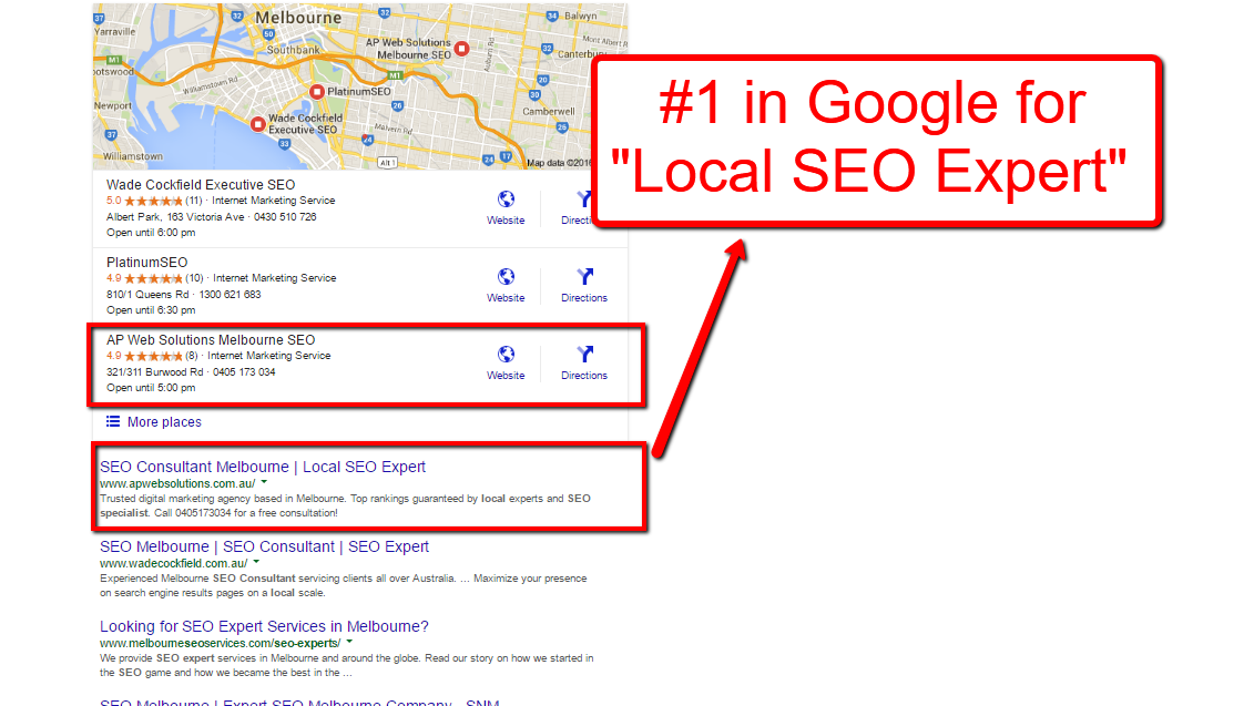ranking in google at #1 for local keywords