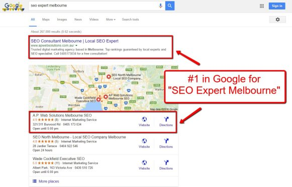 ranking in google at #1 with search engine optimization