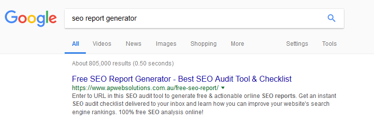 ranking screenshot of free SEO report generator tool